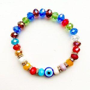 🧿Vintage colorful bead Evil Eye stretch bracelet